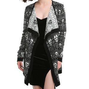 Black White Skull Flyaway Cardigan Sweater